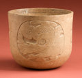 American Indian Art:Pottery, Maya Cup with Carved Resurrection God...
