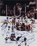 """Hockey Cards:Lots, Oversized 1980 USA Olympic Hockey """"Miracle on Ice"""" Team SignedPhotograph. Heralded as one of the most memorable events in ..."""