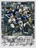 Football Collectibles:Others, Dallas Cowboys Quarterback Legends Autographed Print. The Dallas Cowboys entered the NFL in 1960 under the leadership and di...