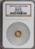 California Fractional Gold, 1868 50C BG-960A MS63 Prooflike NGC. (#710829)...