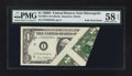 Error Notes:Foldovers, Fr. 1907-I $1 1969D Federal Reserve Note. PMG Choice About Unc 58EPQ.. ...