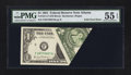 Error Notes:Foldovers, Fr. 1911-F $1 1981 Federal Reserve Note. PMG About Uncirculated 55EPQ.. ...