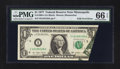 Error Notes:Foldovers, Fr. 1909-I $1 1977 Federal Reserve Note. PMG Gem Uncirculated 66EPQ.. ...