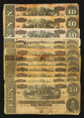 Confederate Notes:1864 Issues, T68 $10 1864 Twelve Examples.. ... (Total: 12 notes)