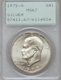 Eisenhower Dollars: , 1972-S $1 Silver MS67 PCGS. PCGS Population (4972/1421). NGC Census: (761/326). Mintage: 2,193,056. Numismedia Wsl. Price f...