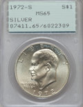 Eisenhower Dollars: , 1972-S $1 Silver MS65 PCGS. PCGS Population (771/9529). NGC Census: (378/1923). Mintage: 2,193,056. Numismedia Wsl. Price f...