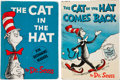 Books:First Editions, Dr. Seuss. Two Cat in the Hat Books, including: The Catin the Hat. [New York]: Random House, [1957]. Fi... (Total: 2Items)