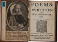 Books:Early Printing, William Shakespeare. Poems Written by Wil. Shakespeare.Gent. Printed at London by Tho. Cotes, and are to be sold by...