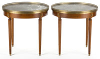 PAIR OF LOUIS XVI STYLE MARBLE TOPPED MAHOGANY BOUILLIOTTE TABLES France, 20th century 26-3/4 x 26-1/2 inche