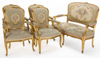LOUIS XV STYLE FIVE-PIECE GILT WOOD SALON SUITE WITH AUBUSSON UPHOLSTERY France, 20th century 41-1/2 x 53-1/4