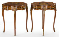 PAIR OF LOUIS XV STYLE INLAID TABLES WITH GILT BRONZE MOUNT France, 20th century 32-1/2 x 27 inches (82.6 x