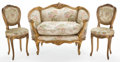 Furniture : French, PAIR OF LOUIS XV STYLE BALLROOM CHAIRS, WITH AN ASSOCIATED CANAPE .France, 20th century. 32-1/2 x 44 x 31 inches (82.6 x 11... (Total:2 Items)