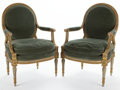Furniture , PAIR OF LOUIS XVI STYLE CARVED BEECHWOOD AND UPHOLSTERED FAUTEUILS . France, 20th century. 38-1/2 x 25-1/2 x 21 inches (97.8 x... (Total: 2 Items)