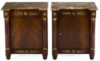 PAIR OF FRENCH EMPIRE STYLE GILT METAL MOUNTED MAHOGANY BEDSIDE TABLES WITH MARBLE TOPS France, circa 1900 27 x