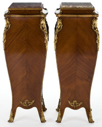 A PAIR OF LOUIS XV STYLE GILT BRONZE MOUNTED MAHOGANY PEDESTALS WITH MARBLE TOPS France, 20th century 44 x 16