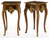PAIR OF LOUIS XV STYLE INLAID GILT BRONZE MOUNT SIDE TABLES France, 20th century 32-1/2 x 19 x 19 inches (82