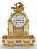 Paintings, LOUIS XVI STYLE GILT BRONZE MOUNTED AND MARBLE CLOCK, ENAMEL DIAL SIGNED LE FAUCHEUR, H. GER DU ROY . France, ci...