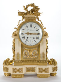 LOUIS XVI STYLE GILT BRONZE MOUNTED AND MARBLE CLOCK, ENAMEL DIAL SIGNED LE FAUCHEUR, H. GER DU ROY
