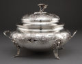 Paintings, CONTINENTAL SILVER TUREEN WITH COVER . 20th century . Marks: LO (over fish) (star) . 10-1/2 inches high (26.7 cm). 99.3 ...