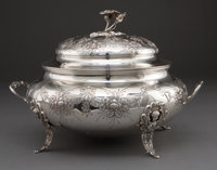CONTINENTAL SILVER TUREEN WITH COVER 20th century Marks: LO (over fish) (star) 10-1/2 inches h