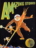 Art:Illustration Art - Pulp, LEO MOREY (American, 1899-1965). Amazing Stories, Pulpcover, 1929. Gouache and tempera on board. 23 x 16.5 in. .Signed...