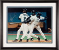 Baseball Collectibles:Others, Ken Griffey Jr. And Nolan Ryan Signed And Framed OversizedPhotographs....