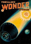 Art:Illustration Art - Pulp, HANS WESSO (WESSOLOWSKI) (American, 1893-1948). Thrilling Wonder Stories, preliminary pulp cover . Mixed media on board...