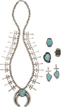 American Indian Art:Jewelry and Silverwork, THREE NAVAJO SILVER AND TURQUOISE JEWELRY ITEMS. Perry Shorty. c.1990... (Total: 5 Items)