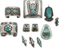 American Indian Art:Jewelry and Silverwork, TEN NAVAJO SILVER AND STONE JEWELRY ITEMS. c. 1965... (Total: 10Items)