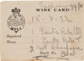 Autographs:Authors, Ernest Hemingway Wine Card Signed...