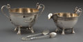Silver Holloware, American:Creamers and Sugars, A GORHAM SILVER AND SILVER GILT CREAMER AND SUGAR BOWL WITH TONGS .Gorham Manufacturing Co., Providence, Rhode Island, 1872... (Total:3 Items)