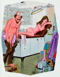 """Mainstream Illustration, DINK SIEGEL (American, 1910-2003). """"I Thought Acupuncture WasDone with a Needle"""", Playboy cartoon illustration, page 121..."""