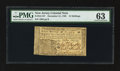 Colonial Notes:New Jersey, New Jersey December 31, 1763 15s PMG Choice Uncirculated 63.. ...