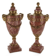 PAIR OF LARGE ROUGE MARBLE AND GILT BRONZE MOUNTED URNS France, 20th century 39 inches in high (99.1 cm) <