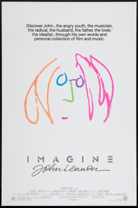 """Imagine: John Lennon (Warner Brothers, 1988). One Sheet (27"""" X 41"""") Pink Hair Style. Rock and Roll"""