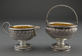 Silver Holloware, American:Creamers and Sugars, A GORHAM SILVER AND SILVER GILT CREAMER AND SUGAR BASKET . Gorham Manufacturing Co., Providence, Rhode Island, circa 1889. M... (Total: 2 Items)