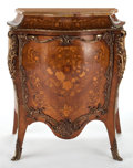 Furniture : French, LOUIS XV STYLE INLAID CABINET WITH GILT BRONZE MOUNT AND MARBLE TOP. France, 20th century. 42 x 36 x 17-1/2 inches (106.7 x...