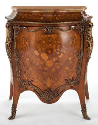 LOUIS XV STYLE INLAID CABINET WITH GILT BRONZE MOUNT AND MARBLE TOP France, 20th century 42 x 36 x 17-1/2 inch
