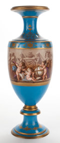 Ceramics & Porcelain, CONTINENTAL PORCELAIN BALUSTER VASE PAINTED WITH A NEO-CLASSICAL FRIEZE. Late 19th century . 27-3/4 inches high (70.5 cm). ...