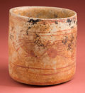 Antiques:Antiquities, Early Maya Painted Cup with Zoomorphs...