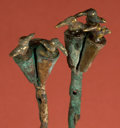 American Indian Art:Pottery, Pair of Early Mochica Tumbaga Tupus with Birds. ...