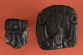 American Indian Art:Pottery, Two Black Jadeite Maya King Pendants...