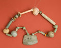 Paintings, Early Maya Jadeite and Shell Necklace and Snuff Tube...