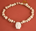 Pre-Columbian:Ceramics, Maya Conch Shell Necklace with Skull Pendant...