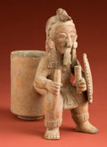 American Indian Art:Pottery, Jama Coaque Warrior on a Drinking Cup...