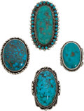 American Indian Art:Jewelry and Silverwork, FOUR SOUTHWEST SILVER AND TURQUOISE RINGS. c. 1940... (Total: 4Items)