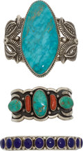 American Indian Art:Jewelry and Silverwork, THREE NAVAJO SILVER AND STONE BRACELETS. c. 1970 - 2000. ...(Total: 3 Items)