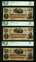 Confederate Notes:1862 Issues, T41 $100 1862 PF-15 Cr. 316; PF-12 Cr. 317A (Two Examples). ThreeConsecutive Notes.. ... (Total: 3 notes)