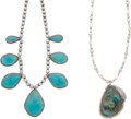 American Indian Art:Jewelry and Silverwork, TWO NAVAJO SILVER AND TURQUOISE NECKLACES. c. 1965... (Total: 2Items)