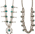 American Indian Art:Jewelry and Silverwork, TWO NAVAJO SILVER AND TURQUOISE SQUASH BLOSSOM NECKLACES. c.1960... (Total: 2 Items)